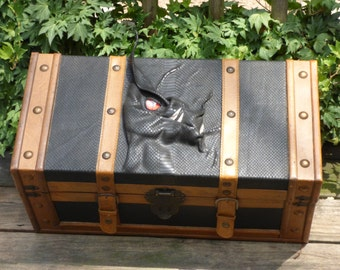 Dragon Trunk Large Treasure Chest Storage Stash Box Black Brown Leather Harry Potter Game Of Thrones