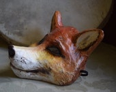 Fox mask Paper mache mask Fox mask Animal mask Fox head Fox costume Masquerade mask Carnival mask Party mask Fancy dress Face mask