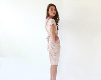 Blush pink bridesmaids gown, Knee length blush dress