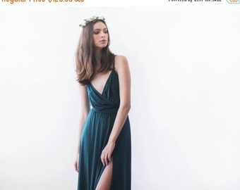 Green forest straps wrap dress, Emerald bridesmaids dress with a slit
