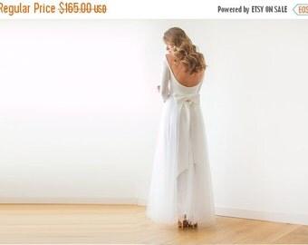 Ivory open back maxi tulle dress, Bride maxi tulle dress, Low back wedding dress