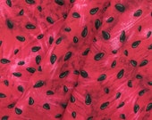 """ℳ Red Watermelon Black Seeds 100% Cotton 45"""" FC12723 Fabric By The Yard, 1 yard"""