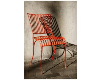 Red Chair Photo, Santa Fe, Simplicity, Warm Colors, Rustic, Wabi-Sabi, Architectural Lines, Geometry
