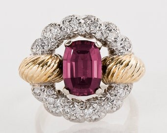 Vintage Ring - Vintage Retro 1940's 14k Two-Tone Rhodolite Garnet and Diamond Cocktail Ring