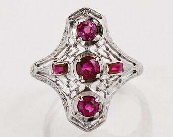 Antique Ring - Art Deco Ring - Antique Platinum Art Deco Ruby Ring