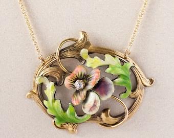 Antique Necklace - Antique Art Nouveau 14k Yellow Gold Enamel & Diamond Conversion Necklace