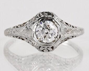 Antique Engagement Ring - Antique Art Nouveau 18k White Gold Filigree Diamond Engagement Ring