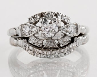 Vintage Engagement Ring - Vintage 1950s White Gold Diamond Wedding Set
