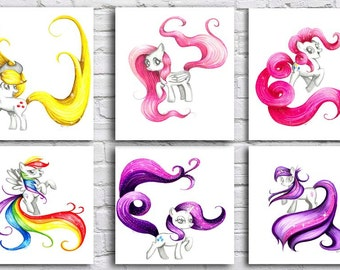 My Little Pony characters- print- 8x10- sale- fan art- drawing- wall decor-Twilight-Rarity-Applejack-pinkie pie-fluttershy-rainbow dash