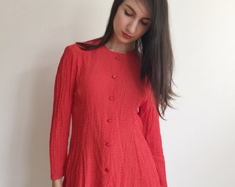 Polka Dot Blouse, Red Blouse, Red Polka Dot, Vintage Shirts, Long Sleeve Blouse, Secretary Shirt , Size S, Red And White Dots