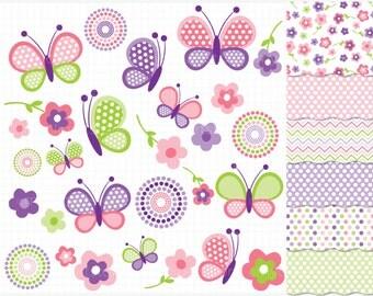 Clipart Combo - Pink Butterflies, spring garden, butterflies clipart, new baby, nursery clipart, pink and purple flowers, butterfly clipart