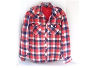 Vintage Quilted Flannel Shirt Jacket Red White Blue Plaid