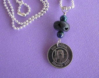 Iceland, Coin Necklace, Azurite, Lava, 1 Krona, Codfish, Fish Coin, 2007