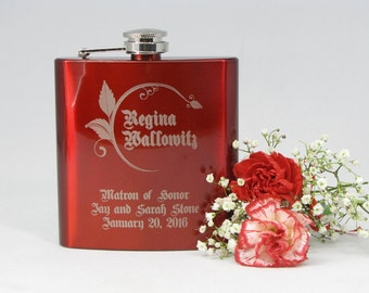 Personalized Bridesmaid Gift, 1 Engraved Flask, Stainless Steel Flask, Personalized Maid of Honor Gift, 1 Red Flask
