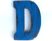 NEW wooden letter D pine wood wall Decor marine blue letter living room sign decor Nursery kids  Shabby letter Distressed wooden initials