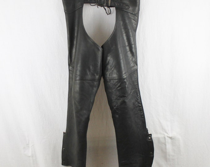Classic Leather Biker Chaps, Heavy Weight Black, Made in the USA, Natal Leather Motorcycle Chaps – Men's Large