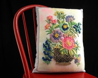 Vintage Crewel Floral Embroidery Decorative Pillow Cover