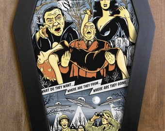 Plan 9 from Outer Space (Edward D. Wood Jr) coffin framed print.