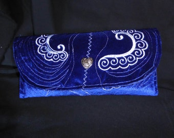 Royal blue Clutch with embroidery