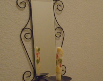 VintageWall hanning with Bevel glass! Candle Holder!