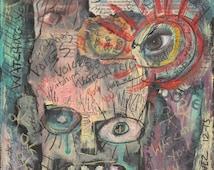 "Original Outsider Art Painting - Art Brut - Primitive Art - Neo- Expressionism - Raw Art - Collage Painting """"SCHIZOPHRENIA"""