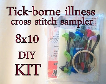 Cross Stitch KIT -- Tick-borne illnesses Microbes Sampler 8x10 -- deer tick, lyme disease, for scientists, epidemiologists, tick-haters