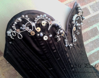 SALE sample corset - overbust in black satin with wire and crystals bust ornamentation - Standard Spanish size 36