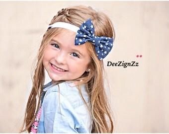 Girls Hair Accessories-Denim-Stars-Bow-Vintage-Headband-Jean-Casual-Photo Prop-Birthday-Blue-White-Baby-toddler-girl-schoolgirl