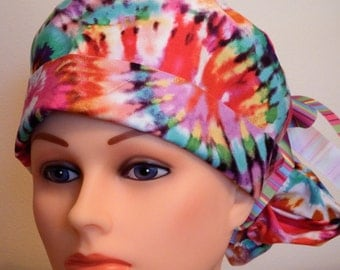Tie Dye Print Pony Tail Style Surgical Hat