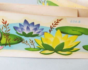 Water Lily, Decals, Vintage, c.1940s, In Original Box 4 Yards, What Fun!