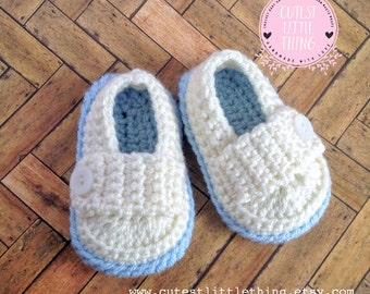 Ivory Baby Shoes, Baby Loafers, Crochet Baby Boy Booties, Crochet Baby Boy Shoes, Boy Baptism Booties, Boy Christening Booties