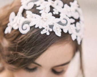 Floral Lace Headband, Crystal and Lace Bridal Headpiece, Juliet Cap, Lace Bridal Cap, Lace Headband, Lace headpiece with Crystals, #308