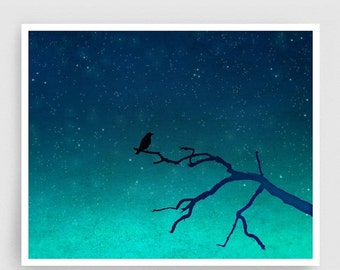 20% OFF SALE: And then... only the silence remains - Love illustration Art Print Home decor Nature print Turquoise Blue Night sky Dreamy bir