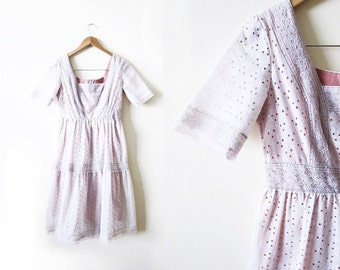 1970s Dress / Bohemian Lace Sundress / Pale Lavender Spring Dress