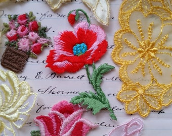 Beautiful Vintage Floral Appliques | Pink and Yellow | Lot No.11