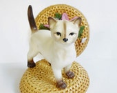 Cat Figurine, Porcelain White Kitten Collectible, Brinnco Made In Japan, Gift for Cat Lover, Ceramic Cat