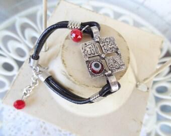 Black Leather Bracelet,  Silver Bracelet, Arabian Style Bracelet, Luck Evil Eye Bead Bracelet, Christmas Gift