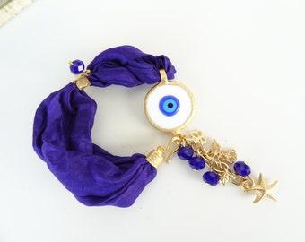 Cobalt Blue Turkish Silk Bracelet, Evil Eye Bracelet, Gold Bracelet, Cobalt Blue Crystal Bracelet, Turkish Jewelry, Vanentine Day Gifts