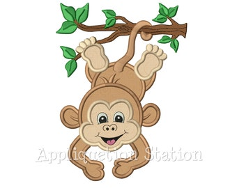Zoo Baby Monkey Hanging Branch Boy Applique Machine Embroidery Design Jungle Safari Girl Cute animal INSTANT DOWNLOAD