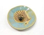 Pottery Shell Ring Dish, Shell Ceramic Ring Dish, Ring Holder, Jelewry Holder, Ceramic Shell Dish, Pottery Shell Dish, Shell Bowl, Blue