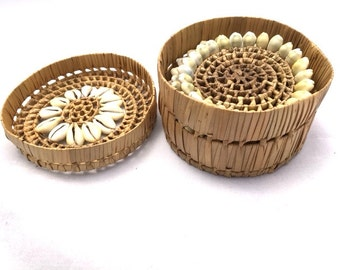 Vintage 70s Woven Wicker RATTAN SEASHELL Coasters and Holder / 5 Piece Set