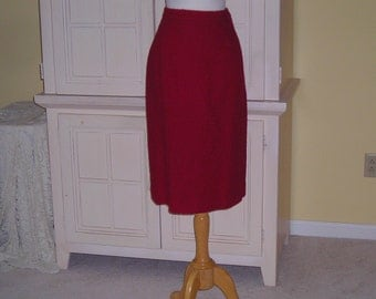 60's red wool skirt, Valentines Day or Christmas skirt, slight A-line style , bolcie wool, great wardrobe addition