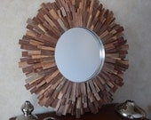 "27"" Natural Reclaimed Walnut Wood Sunburst Mirror, ©2016 FallenWalnut.Etsy.com, Wood Wall Art MADE to ORDER"