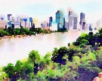 Watercolor Print - Brisbane The River City - Riverscape