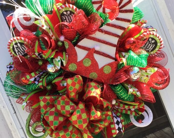 Elf Hat Christmas Wreath, Christmas wreath, Elf Wreath