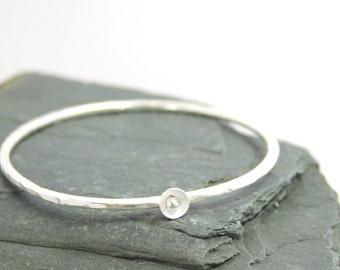 Sterling Silver Bangle, Rustic Bracelet, Boho Bangle, Hammered Silver Bracelet, Rustic Jewelry, Stacking Bangle, Artisan Bracelet