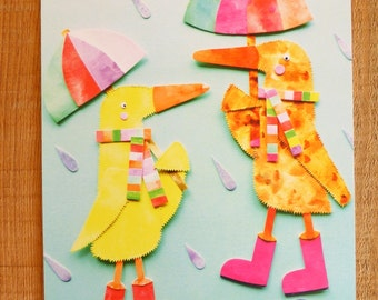 A4 Print 'Rainy Day Ducks'