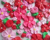 Pink and red flower assortment -- Ready to ship -- Valentine's Day mix -- Edible cake decorations cupcake toppers (48 pieces)