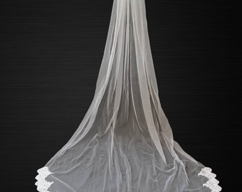 Cathedral lace wedding veil, white, light ivory, 9 feet long, elegant, blusher, one tier with attached comb