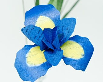 Irises Handmade from Books - Half-Dozen (6) Paper Iris in Your Choice of Colors and Made from Your Favorite Book